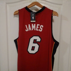 Brand new Official Lebron James Miami Heat Jersey Red XL w tags