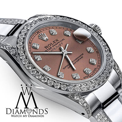 Ladies 31mm Rolex Oyster Perpetual Datejust Custom Diamonds Salmon Color Dial