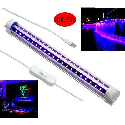 40 Leds 5V 10W UV Ultravioleta Tira Tubo Barra de Luz USB...
