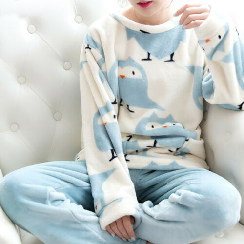 Women Winter Warm Thick Pajamas Set Flannel Coral Long Sleev