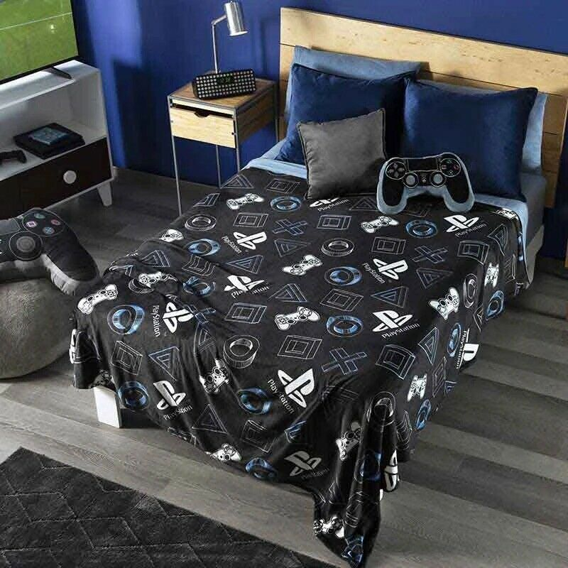 PLAYSTATION ORIGINAL LICENSED TEENS BOYS LIGHT BLANKET Throw blanket size