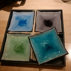 Set of 4 Japanese Plates in Box