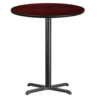36 Round Mahogany Laminate Table Top With 30 X 30 Bar Height Base