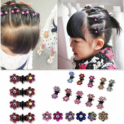 - 6/12pcs Girls Sweet Crystal Rhinestone Flower Mini Hair Claws Clips Clamps