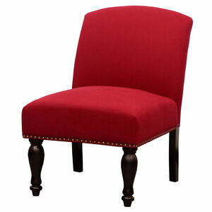 BRAND NEW ARMLESS RED ACCENT CHAIR