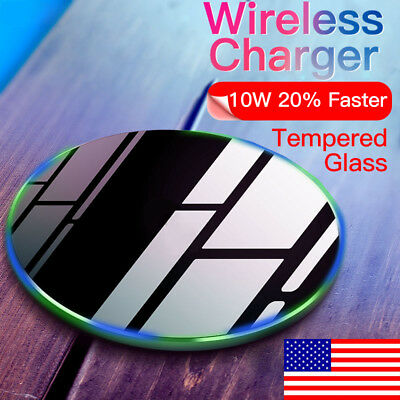 Tempered Glass Fast Wireless Charger for iPhone XR XS Max X 8 Plus Pad Mat