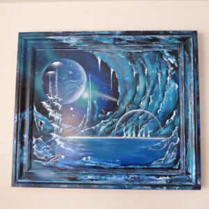 """ONE-OF-A-KIND FUTURISTIC SIGNED PAINTING ENTITLED """"ICE PLANET"""""""