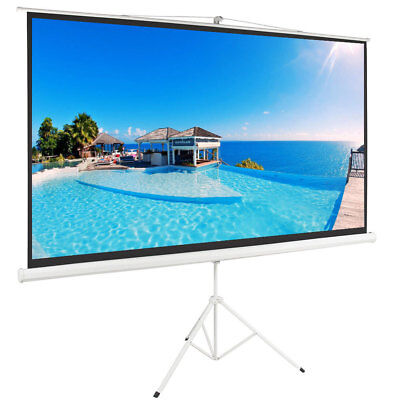 100 Tripod Portable Projector Projection Screen 169 White Foldable Stand
