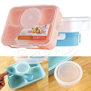 microwave bento lunch box spoon utensils picnic food container storage box new. Black Bedroom Furniture Sets. Home Design Ideas