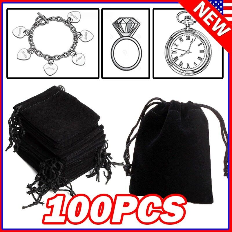 Lot Black Velvet Drawstring Velour Pouch Jewelry Baggie Ring