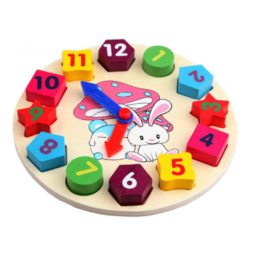 $4.61 - B3 wooden kids digital geometry Clock educational toys building blocks toy