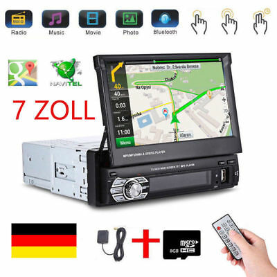 AUTORADIO MIT GPS NAVI NAVIGATION BLUETOOTH TOUCHSCREEN USB SD AUX 1DIN + EU MAP Touch Screen Bluetooth