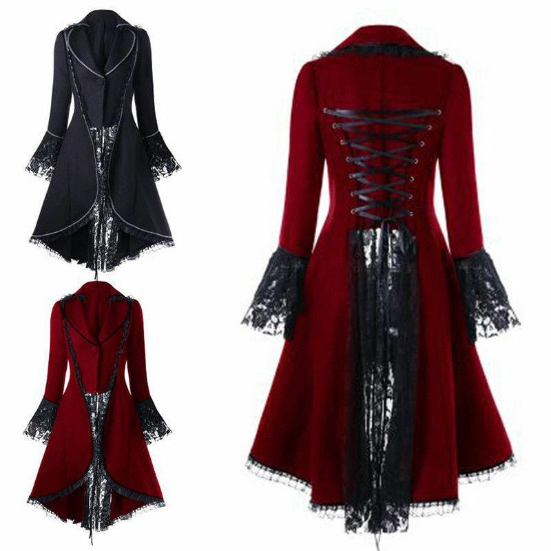 Women Steampunk Halloween Gown Dress Gothic Jacket Cloak Cap