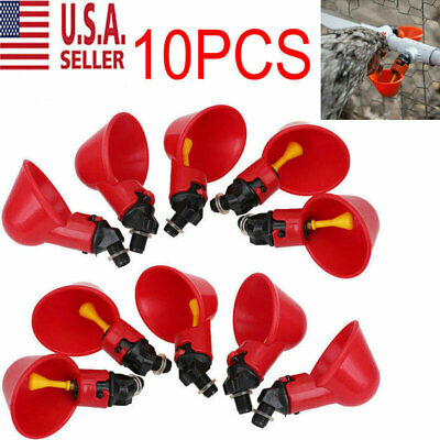 10 Poultry Water Drinking Cups- Chicken Hen Plastic Automatic Drinker Usa New
