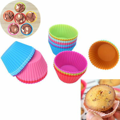 12pcs Silicone Cake Muffin Chocolate Cupcake Liner Baking Cup Cookie Mold EN