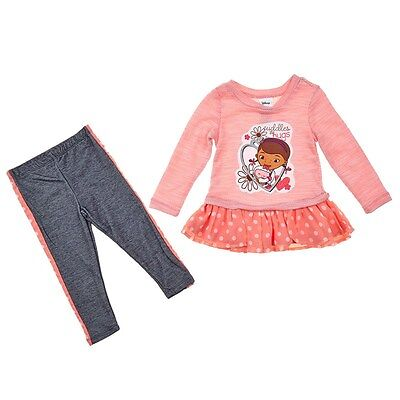Doc McStuffins Girl Ruffle Sweater Pullover Dress Top Leggings Outfit/Set 3T 4T