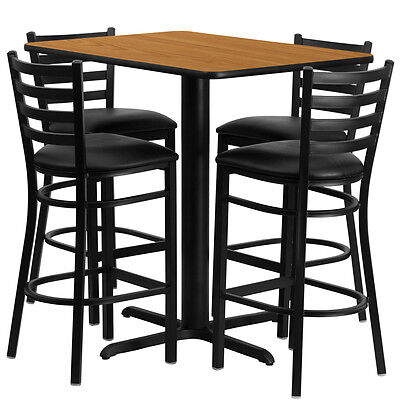 Restaurant Table Chairs 24x42 Natural Laminate With 4 Ladder Metal Bar Stool