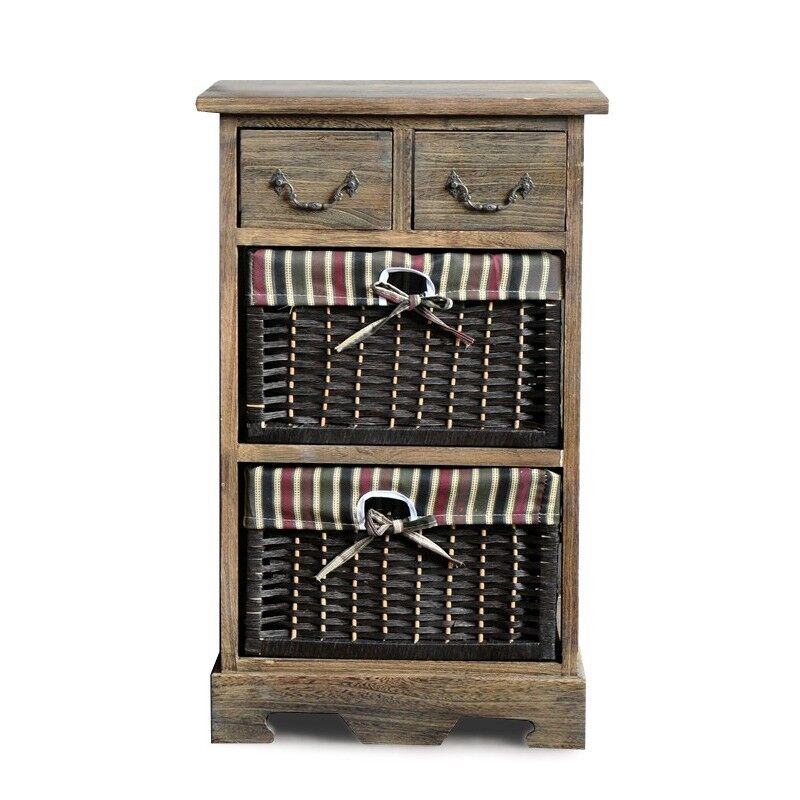Wooden Frame Wicker Basket Drawer Storage Unit Bedroom Bathroom Organizer G101b