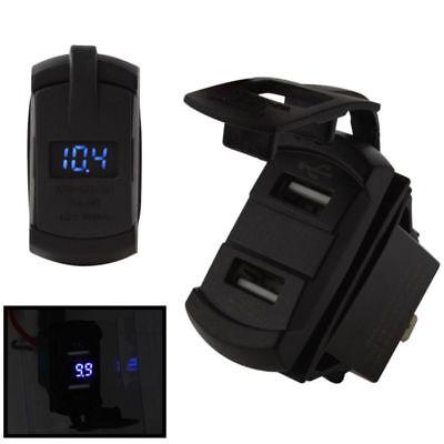 1 Pcs Dual Port USB Charge Power Socket Jack Auto Car Boat Blue LED Voltmeter