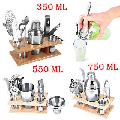 8 teiliges Cockteilset Cocktail Shaker Mischbecher Barset mit Holzständer GD - Shaker Bar Set
