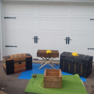 2 Antique TRUNKS Or CHESTS + TABLE + WOOD TOOL BOX