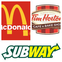 Mcdonalds/TimHortons/ Subway DELIVERED AT YOUR DOOR!