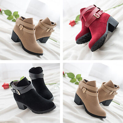 Women Winter Snow Low Heel Ankle Boot Buckle Wedge Martin Boots Ladies Shoes