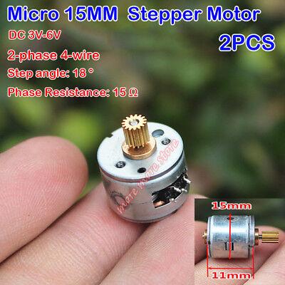 2pcs 2-phase 4-wire Micro 15mm Stepper Motor Dc 3v-6v 15 Teeth Copper Gear Step