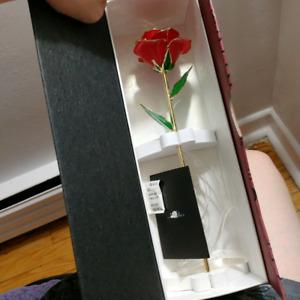 24K Gold Foil Trim Artifical Rose.