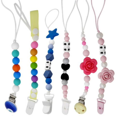 Baby Silicone Pacifier Holder Clip Chain Dummy Nipple Teether Beads Strap H