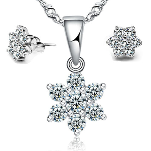 Details About Wedding Zircon Jewellery Set 925 Stering Silver Snowflake Necklace Stud Earring