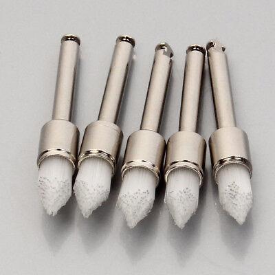 10x Dental Disposable Lab Polishing Brushes Latch Flat White Nylon Prophy Brush