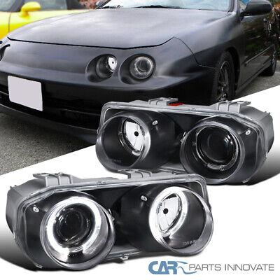 Acura For 1994-1997 Integra Black Dual Halo Projector Headlights Left+Right Dual Projector Headlights