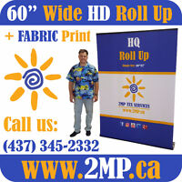 """60"""" Wide HQ Roll Up Retractable Back Wall Stand + FABRIC PRINT"""