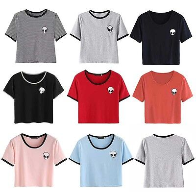 Fashion Summer Short Sleeve Tee Women Casual Crop Top Alien Print T Shirt Blouse