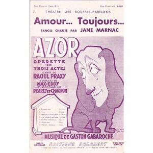 """AMOUR TOUJOURS tango chanté Jane MARNAC Opérette AZOR de PRAXY Musique GABAROCHE - France - Commentaires du vendeur : """"Occasion"""" - France"""