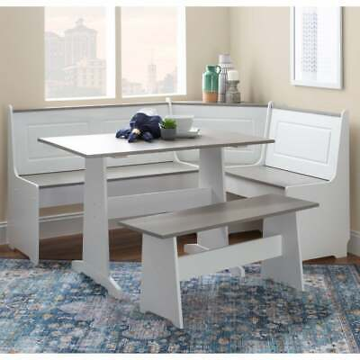 Corner Farmhouse Breakfast Nook Dinette Set With Storage Bench in White and Grey