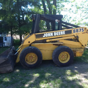 john deere 8875 with weights skid steer bobcat bucket and forks