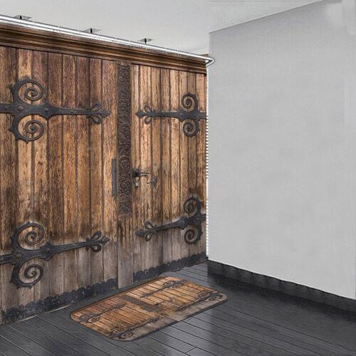 vintage old wooden door printing shower curtain