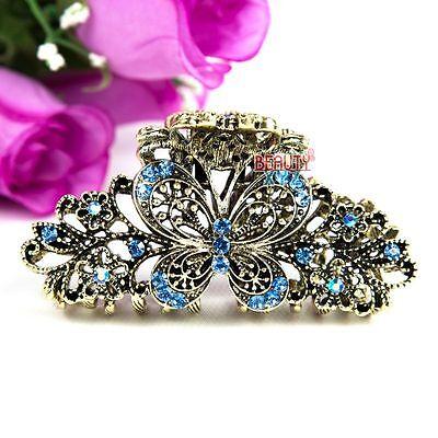 Beautyxyz Blue Crystal high quality Metal Butterfly/flower Hair Claw Clip Pin