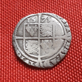 Tudor 1573 Elizabeth I hammered silver sixpence coin
