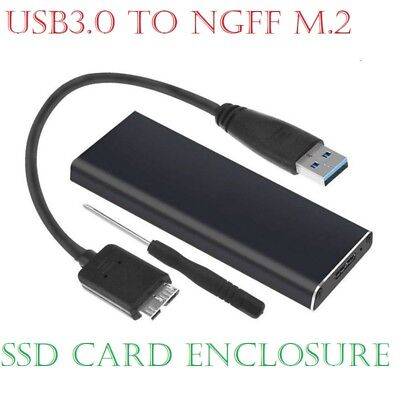 USB 3.0 to NGFF M.2 B Key SSD Adapter Card External Enclosure Case Cover Box