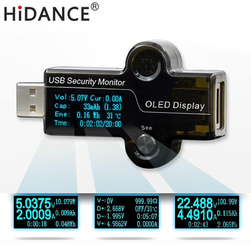 USB OLED safety monitor tester detection capacity supply power mobile