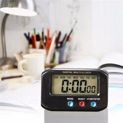 LCD Digital Snooze Table Desk Top Alarm Clock Nightlight Time Day Stopwatch New