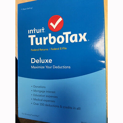 Turbotax Deluxe 2015 Federal   Fed Efile Tax Preparation Software   Pc Mac Disc