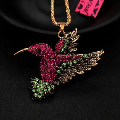 Betsey Johnson Shiny Rose Crystal Retro Hummingbird Bird Pendant Chain Necklace