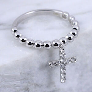 Sterling Silver - DESIGNER Pebbled Dangle Crystal Cross Ring