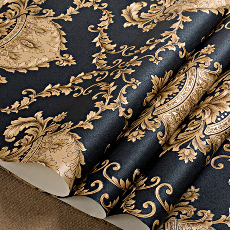 Luxury black metallic gold texture vinyl damask wallpaper for Black and gold wallpaper for walls