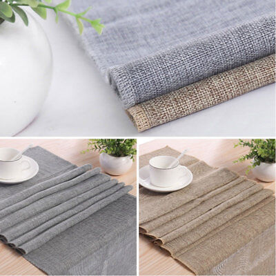 Retro Style Gray Linen Burlap Natural Table Runner for Wedding Event Table Decor - Burlap Table Runners For Wedding