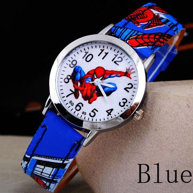 Spiderman Leder Armbanduhr Jungen Mädchen Frauen Teenager Kinder Cartoon Uhren